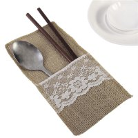 10 Pieces Knife And Fork Burlap Lace Bag Tableware With Jute Rope Elegant Style