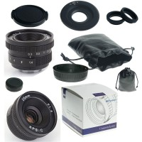 25mm F1.4 C-Mount Lens For APS-C Camera m43 ep2 gf1 gh1+ C-m4/3 adapter +Lens hood + Macro Rings*2+...