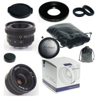 25mm f/1.4 mirrorless for APS-C Camera for Fuji FX X-E2 X-E1 X-Pro1 + C-FX adapter + lens hood + Macro Ring*2+ ...