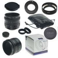 35mm f/1.6 33mm f1.6 mirrorless for APS-C Camera for Pentax Q + C-PQ adapter + lens hood + Macro Ring*2+ ...