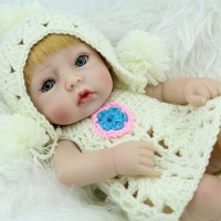 28CM Unique Yellow Hair Reborn Baby Doll Soft Vinyl Lifelike Newborn Doll Girl
