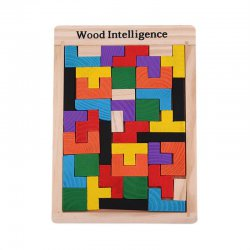Colorful Wooden Tetris Puzzle Tangram Brain Teaser Puzzle Toys Educational