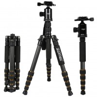 Z699C Professional Portable Travel Alloy Tripod to Monopod Ball Head for Digital