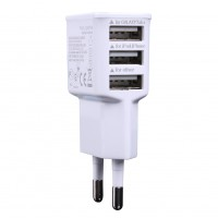 White 3 Port USB Data Cable Charger with EU Regulations 50/60Hz Cellphone Tablet