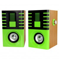 A pair of Premium Wood  Computer Desktop Speakers2.1 Multimedia Speakers TS-2201