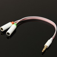 3.5mm Stereo TRRS 4-Pole Plug to 3.5mm Mic Headset Jack Audio Adapter For Iphone