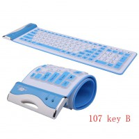 107B  USB  Flexible Silicone Keyboard Portable Silicone Waterproof Foldable Flex