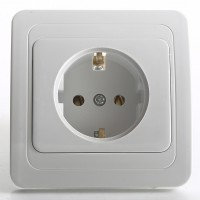 EU Standard 16A 250V Wall Socket Outlet with White Panel