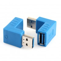 2pcs 90 Degree USB 3.0 A Male to Female Right Angle Connector Adapter UP + Down