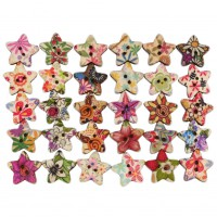 100pcs Star Pattern 2 Holes Wood Buttons Sewing Scrapbooking Sewing Buttons