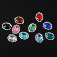 10 In 1 Charming Rhinestone Silver Square Button Buckles Sliders Sewing Craft