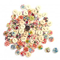 100 Pcs Round Pattern Mixed 2 Holes Wood Buttons Sewing Scrapbooking