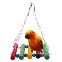 Colorful Parrot Swing Bird Toy Wooden Rat Mouse Hamster Hanging Hammock Toys