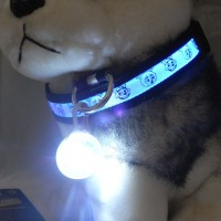 LED Flashing Puppy Cat Collar Pendant Round Luminous Pets Home Garden Dog Collar
