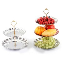 2-3 Tier Fruits Cakes Desserts Plate Stand Gold Silver Stainless Steel Plate