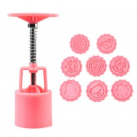 1set Newest Round Moon Cake Mold Mooncake Decoration Mould Kitchen Tool Pink