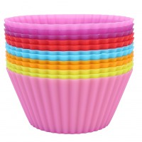 12pcs soft Silicone Cake Muffin Chocolate Cupcake Bakeware Baking Cup Mold Saft