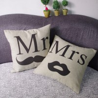 1 pair Vintage Mr Mrs Bearded Lips Couple Linen Pillow Case Sofa Home Decor