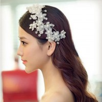 Luxurious Wedding Bride Headwear Beautiful Hair Ornament Fower Motif Headdress