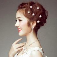 12pcs Bridal Crystal Pearl Flower Spiral Twist Hair Pins Wedding Hair Accessory