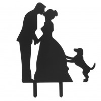 1 Pcs Black Romantic Cake Topper Kissing Couple with a Pet Dog Cake decor