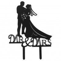 Mr & Mrs Bride and Groom Kissing Couple Silhouette Acrylic Wedding Cake Topper