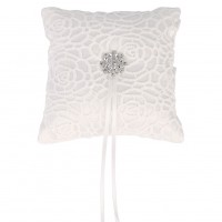 New Wedding Ceremony Cloth+Rhinestone Flower Ring Pillow Cushion For Wedding