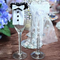 1 Set Bride&Groom Costume Goblet Decoration Wedding Supplies Decoration Bottle