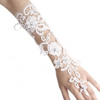 1 pair Wedding Party Beautiful White Pearl Lace Floral Bride Fingerless Gloves