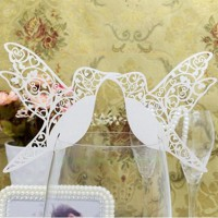 New 50pcs Paperboard Bird Lase r Cut Glass Place Cards Wedding Party Decor White