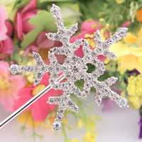 1pc Crystal Cake Topper with Rhinestone Snowflake Shape Design Topper Pick Stick