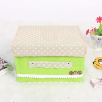 Small Garden Non-Woven Fabric Button Clutter Storage Box Container Green