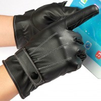 Winter Warm Men's Gloves Full Finger Touch Screen Gloves PU Leather Gloves
