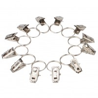 20pcs Stainless Steel Window Shower Curtain Clips Hook Clips Drapery Ring New