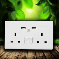 White double socket USB 13A electic wall plug sockets with 2 USB outlets
