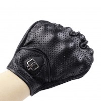 1 Pair M/XL Fashionable Motor Gloves Real Leather Full Finger Motorcycle Gloves